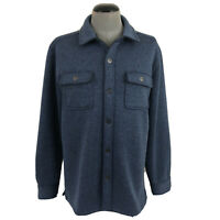 Tommy Bahama Mens L Blue Snap Button Soft Poly Logo Sweater Jacket