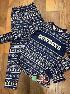 Dallas Cowboys NFL Youth Boys Christmas Pajama Set Size Medium (10/12)  ~ NWT
