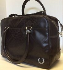 Fred Perry Tartan Embossed HoldAll Bag, Dark Chocolate, One Size, NEW