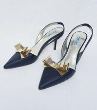 Cynthia Rowley BOLD Black Leather Slingback Gold Metallic Bow SZ 9M Italian
