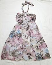 Womens Italian Made Floral Backless Halter Dress Top Sz 8 EUC