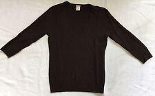JCrew Dark Brown Cashmere V-Neck Cable Knit Sweater Sz S EUC