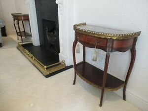 Beautiful Quality Pair of Antique Marble Top / Gilt Detail Side Console Tables