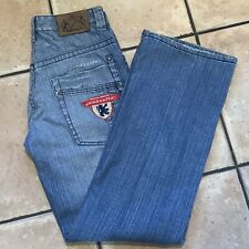 Lambretta Mens Blue Jeans. Rare Find. Embroidered Badges W30 L31 Scooterboy Mod.