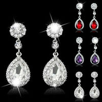 Women Unique White Gold Filled Crystal Charm Dangle Ear Stud Earrings Jewelry