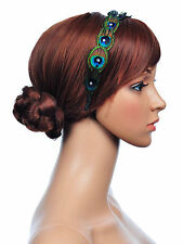 1920's DECO  PEACOCK FEATHER   Diaminate  Beads HEADBAND Hair Piece  WED PARTY