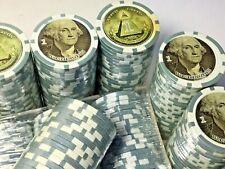 Large Lot of 200 George Washington $1 Poker Chips Set & Holder Us President