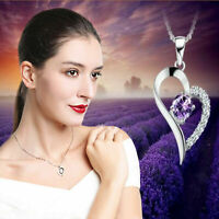 Infinity Love Heart Necklace 925 Sterling Silver Clear Purple CZ Crystal Jewelry