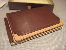 TRAFALGAR TWO TONE TRIPLE LEATHER BROWN WALLET WITH CLIP  - BRAND NEW - NWT