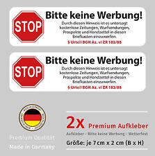 Keine Werbung Aufkleber-Set für Briefkasten - Wetterfest und UV Beständig