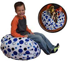 """Creative QT Stuff 'n Sit - Stuffed Animal Storage Bean Bag - 27"""", Blue Polka Dot"""