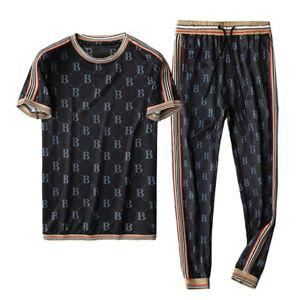 Mens Jogger Tracksuit Short Sleeve Shirt Pants Set 2 Piece Outfits Sportswear