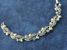 Vintage LISNER Silvertone Faux Pearl Blue Aurora Borealis Rhinestone Bracelet