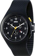 Montre homme chrono BRAUN Quartz analogique bracelet silicone noir BN0115BKBKBKG