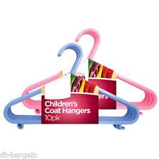 10 x CHILDREN'S PLASTIC CLOTH HANGERS IN BLUE PINK CHILD BABIES BOYS KIDS COAT
