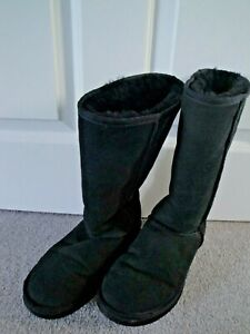 UGG BOOTS SIZE 5 EU 38 BLACK SUEDE LEATHER CLASSIC TALL 5815 LADIES GIRLS