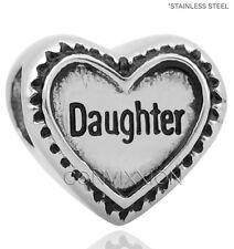 STAINLESS Steel European Charm Bead Daughter Heart Dark Stamped Love vix4pandora