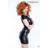 Jupe droite ouverte noire en Wetlook référence Andréa marque Patrice Catanzaro
