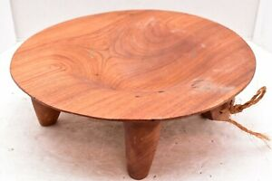 "VTG CEREMONIAL FIJI PRIEST'S OIL DISH Kava Carved wood BOWL FIJIAN FOOTED 13"""