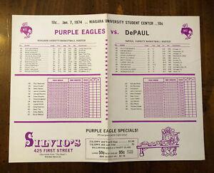 1974 Niagara University Basketball Scorecard Niagara Falls Convention Depaul