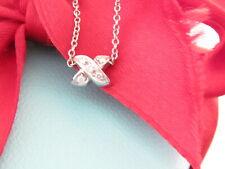"Tiffany & Co Metro Diamond 18k White Gold Cross x 16.75"" Necklace Box Pouch"