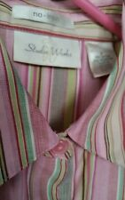 Women's Juniors STUDIO WORKS Button up LS Shirt Top Blouse Pink Striped Career S