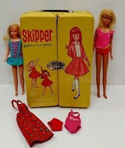 Skipper Carrying Case Clothes Barbie's Little Sister Doll + Mattel Malibu Casey