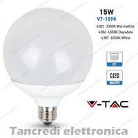 Lampadina led V-TAC 15W = 100W E27 VT-1898 G120 globo lampada lampadine SMD bulb