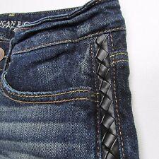 American Eagle Dark Wash Jean Denim Stretch Short Shorts Sz 0 Leather Trim Women