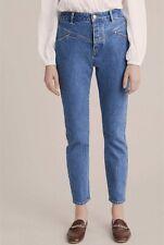 NEW Witchery Yoke Detail Tapered Jeans Denim Pants Woman Indigo Blue Size 8