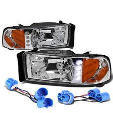 FOR 94-02 DODGE RAM/SPORT CHROME HOUSING LED DRL CLEAR HEADLIGHT+TURNING LIGHT