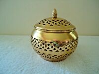 Vintage Made In India Brass Round Potpourri / Candle ? Holder With Lid
