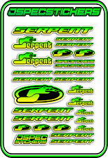 RC STICKERS MODEL CAR SERPENT RACING BRUSHLESS F1 1/10 DRIFT 1/8 BUGGY YEL GRE B