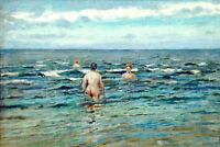 Oil painting Gorbatov Konstantin The Bathers swimming by the ocean Hand painted