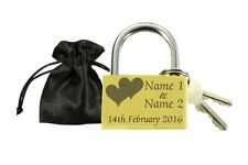 Wedding Gift Love Lock & Pouch Personalised Engraved Padlock Present Anniversary