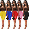 Fashion Women Solid Color PU Bodycon Clubwear Casual Trousers Midi Pencil Pants