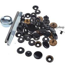 Heavy Duty Black Snap Fasteners 17mm x 15 Sets Press Studs Kit Buttons wTool AU