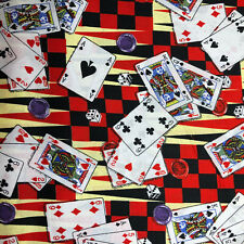 Fat Quarter Lucky Cards Casino Gambling Cotton Fabric Quilt Great for Masks