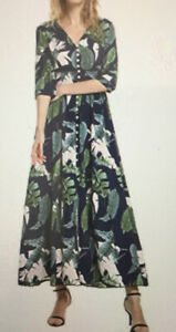 """ZAN STYLE MAXI DRESS GREEN NAVY FLORAL PULL ON ELASTIC WAIST SIZE LARGE 36"""" BUST"""