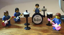 *LEGO MINIFIGURES  THE BEATLES PERFORMING WITH GUITARS AND DRUMS (BLUE)