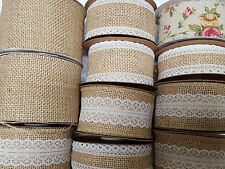 Hessian Burlap Jute Ribbon with Lace Plain & Vintage Rose Wedding Cut to order