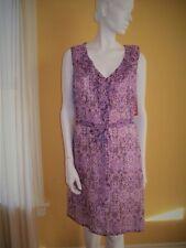 NWT MERONA 16 PURPLE Lavender Print DRESS Ruffle Neckline Polyester Pockets XL