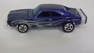 2005 Hotwheels Muscle Mania '69 Charger Metalflake Blue Silver Flames on Side