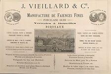 """J. VIEILLARD &CIE """"MANUFACTURE DE FAIENCES FINES PORCELAINE DURE"""" BORDEAUX 1875"""