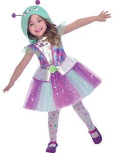 Childs Adorable Alien Fancy Dress Costume Halloween UFO Space Martian Kids Girls