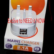 UK Mains Wall 3 Pin Plug Adaptor Charger 2 USB Ports for Phones Tablets 5V 2.1A