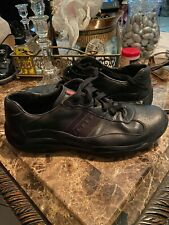 AUTH PRADA AMERICAS CUP SNEAKERS SHOES DNC096 BLACK LEATHER US 10.5