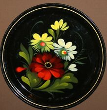 Vintage Russian hand painted metal tole plate
