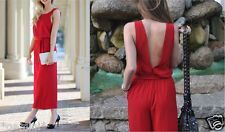 ZARA Red Open Back Fancy Cropped Jumpsuit Dress Red Overalls Backless Size M