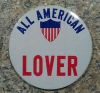Vintage All American Lover Button Pin Pinback